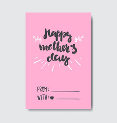 happy mothers day creative greeting card with hand vector image
