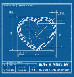 heart sign as technical blueprint drawing vector image