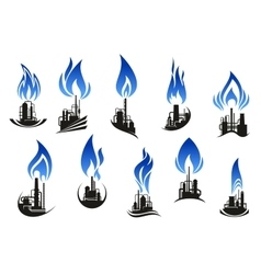 Industrial chemical plants with blue flames vector image