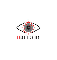 Iris scanner eye logo personal identification and vector