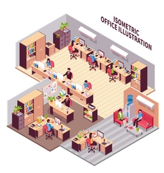 Isometric office workplaces vector