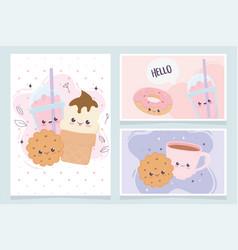 Kawaii cookie donut coffee cup fast food cartoon vector
