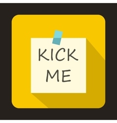 Kick me april fools day sticker icon flat style vector image