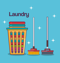 Laundry service clean basket cotton mop broom vector