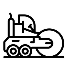 Machine road roller icon outline style vector