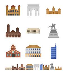 milan italy city skyline icons set flat style vector image