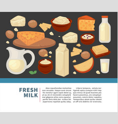 milk and cheese dairy products farm food sour vector image