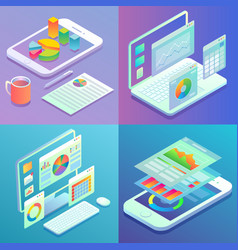 mobile and web analytics concept flat vector image