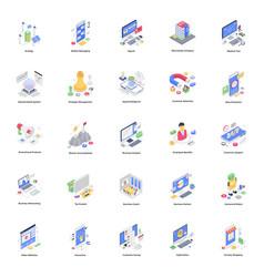 Modern business isometric pack vector