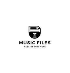 music file document logo design concept vector image