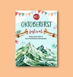 Oktoberfest poster with nature fresh flower vector