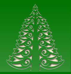 Ornamental christmas tree carved on the square vector