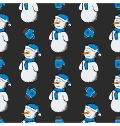 pattern snowmen with gloves vector image