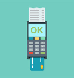 pos terminal in flat style vector image