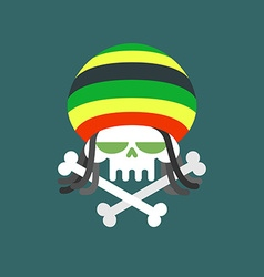 Rasta skull Skull addict with dreadlocks and bones vector image