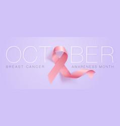 realistic pink ribbon breast cancer awareness vector image