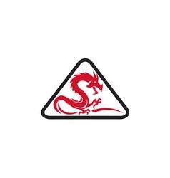 Red dragon silhouette triangle retro vector