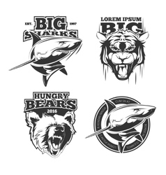 Retro labels with grizzly shark and tiger vector