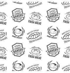 Seamless pattern with bakery emblems design vector
