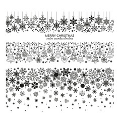 seamless snowflake border set christmas design vector image