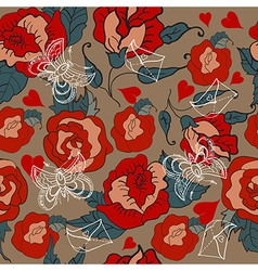 Seamless Vintage Floral pattern for Valentine vector image