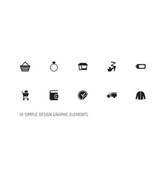 set of 10 editable shopping icons includes vector image