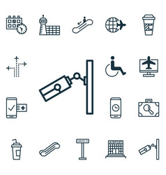 Set of 16 transportation icons includes video vector