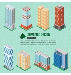 Set of 3d isometric tall buildings icons for map vector