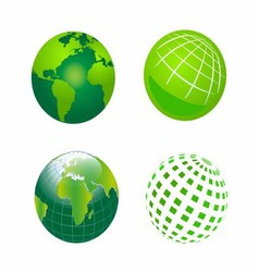 Set of Green Globe Icons vector