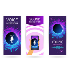 set vertical modern technological roll up voice vector image