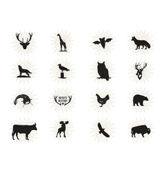 Set wild animal figures and shapes vector