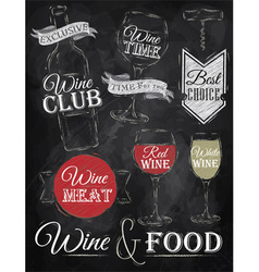 Set Wine chalk vector