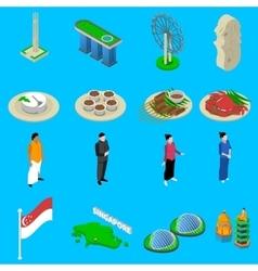 Singapore Travel Symbols Isometric Icons Set vector
