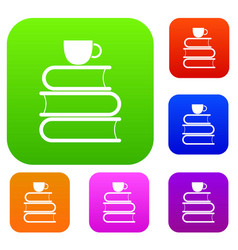 Stack of books and white cup set collection vector