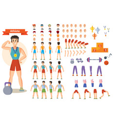 Strong man athlete character creation set vector