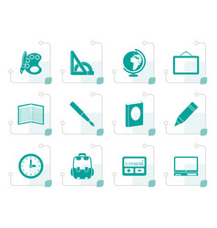 Stylized school and education icons vector