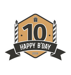 Tenth anniversary vintage emblem 10 years vector