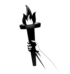 Torch in human arm icon vector