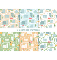 town houses seamless pattern scandinavian map vector image