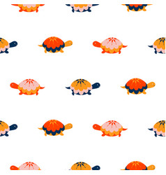 Turtle seamless pattern cartoon style red vector