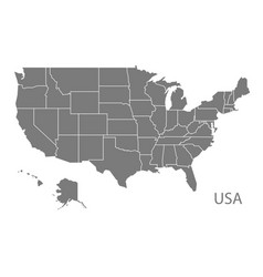 Usa map with federal states grey vector