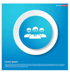 user group icon abstract blue web sticker button vector image