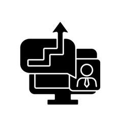 Video coaching black glyph icon vector
