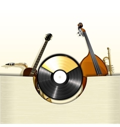 vinyl record with envelope and jazz instruments vector image