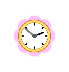 Wall clock with pink rim icon flat style vector
