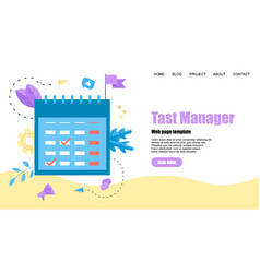 Web template flat design task manager with events vector