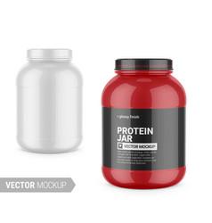 White glossy plastic protein jar mockup vector