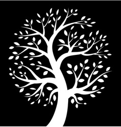 White Tree icon on black background vector image