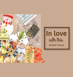 Winter home frame design with snowman lantern vector