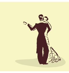 Young couple dancing waltz vector